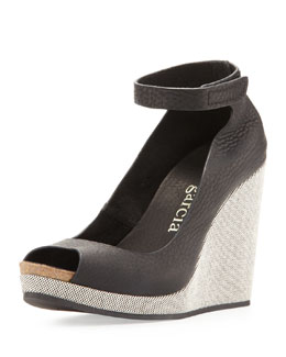 Pedro Garcia Harlem Peep-Toe Wedge, Black