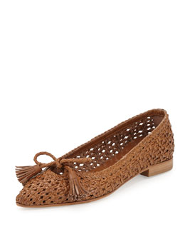 Aquatalia Doria Woven Leather Tassel Flat, Camel