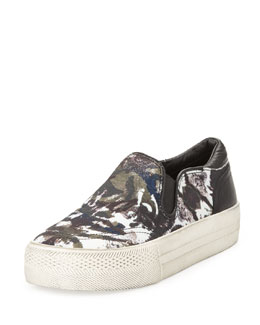 Ash Jungle Blis Camo-Print Slip-On, Black/Cafe