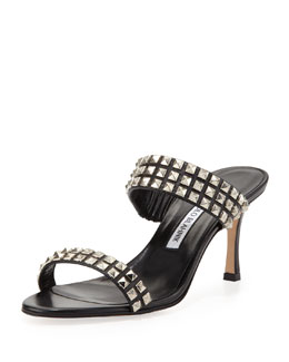 Harley Slide-Heel Studded Sandal, Black