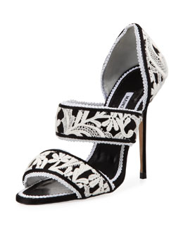 Manolo Blahnik Plusanda Lace Double-Band Sandal, Black/White
