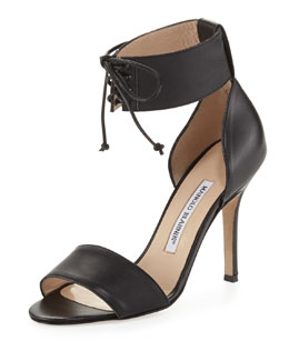 Manolo Blahnik Olli Lace-Up Ankle-Cuff Toe-Band Pump, Black