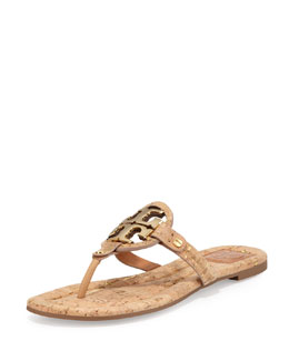 Tory Burch Miller Cork Logo Thong Sandal, Natural