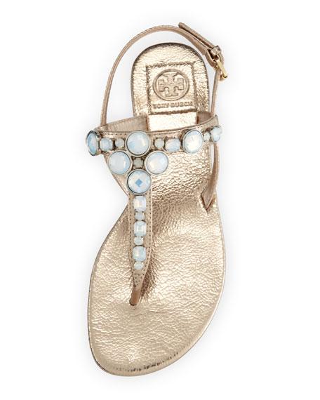 Callie Metallic Thong Sandal, Platinum