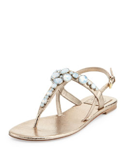 Tory Burch Callie Metallic Thong Sandal, Platinum