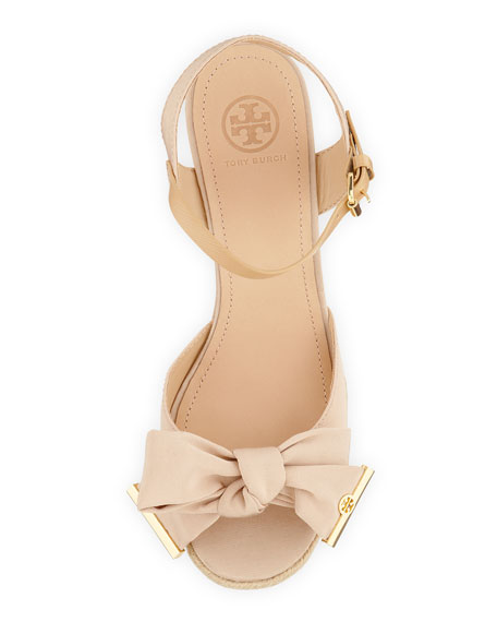 d6c1420a70b Tory Burch Penny Faille Bow Wedge