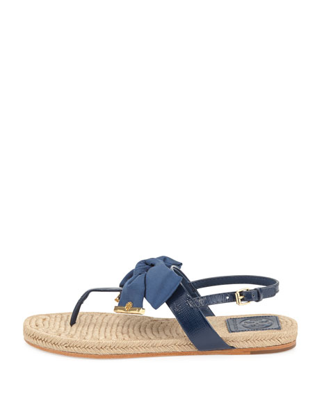 e51a3dc1a09 Tory Burch Penny Flat Bow Espadrille Thong Sandals