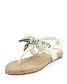 Tory Burch Penny Floral-Print Bow Thong Sandal