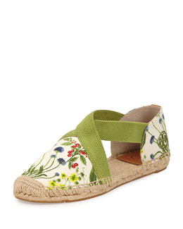 Tory Burch Catalina Strappy Printed Espadrille Flat, Ivory