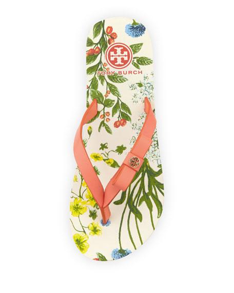Carlton Logo Bow Flat Flip-Flop, Sunset/Floral