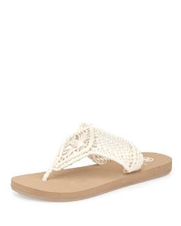 Tory Burch Schaeffer Crocheted Rubber Flip-Flop, Ivory