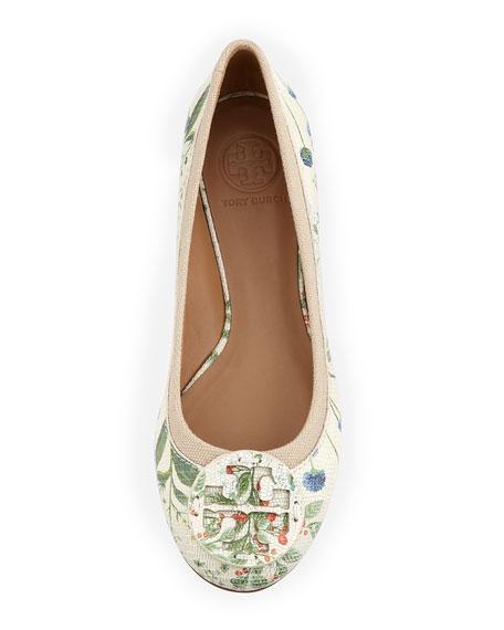 Reva Botanical-Print Leather Ballerina Flat