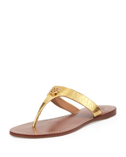 Tory Burch Cameron Croc-Embossed Thong Sandal, Gold
