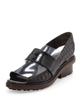 3.1 Phillip Lim Darwin Peep-Toe Slingback Loafer, Black