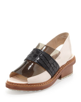3.1 Phillip Lim Darwin Peep-Toe Slingback Loafer, Powder/Black