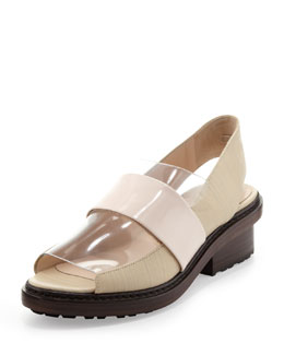 3.1 Phillip Lim Darwin Peep-Toe Slingback Loafer, Birch/Powder