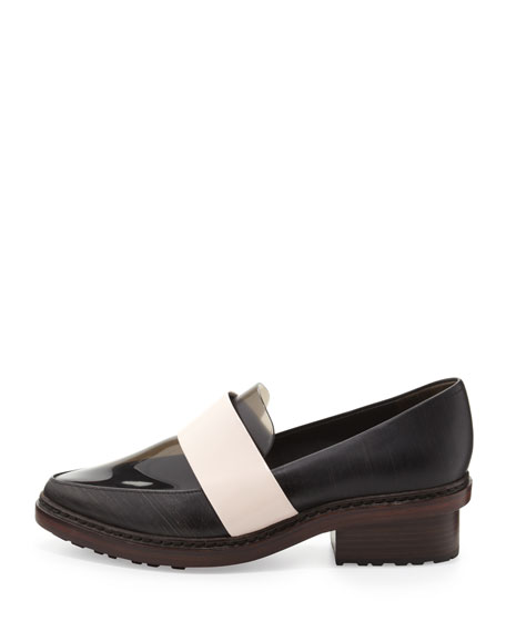 Darwin Leather Loafer, Ebony/Powder