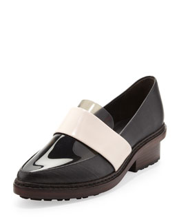 3.1 Phillip Lim Darwin Leather Loafer, Ebony/Powder