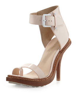 3.1 Phillip Lim Isabela Ankle-Wrap Sandal, Powder