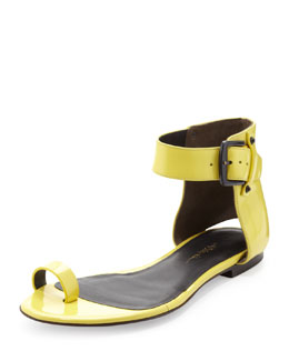3.1 Phillip Lim Isabela Ankle-Wrap Sandal, Lemon