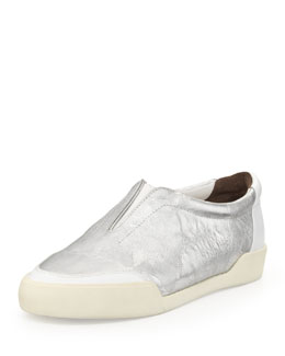 3.1 Phillip Lim Morgan Metallic Slip-On Sneaker, Silver/White
