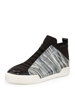 3.1 Phillip Lim Morgan Marbled Slip-On Sneaker, Black/White