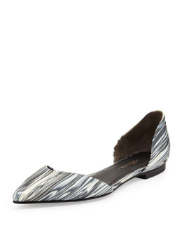 3.1 Phillip Lim Devon Marbled d'Orsay Flat, Black/White