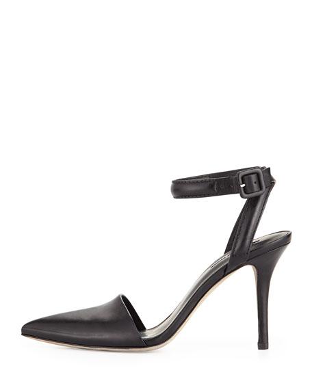 Lovisa Leather Ankle-Wrap Pump, Black