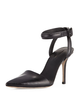 Alexander Wang Lovisa Leather Ankle-Wrap Pump, Black
