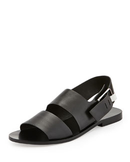 Alexander Wang Eva Double-Strap Leather Sandal, Black
