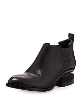Alexander Wang Kori Tumbled Leather Lift-Heel Ankle Boot