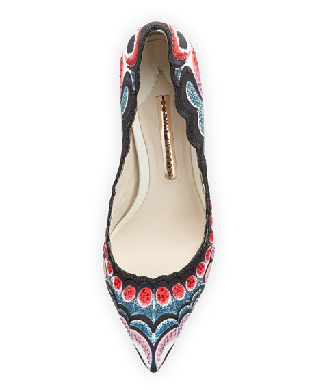 Elle Butterfly-Print Fabric Pump, Black/Red