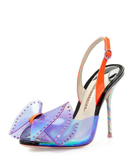 Leah Iridescent Bow Sandal, Violet/Neon Flamingo