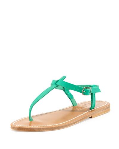 Picon Leather Thong Sandal, Mint Green