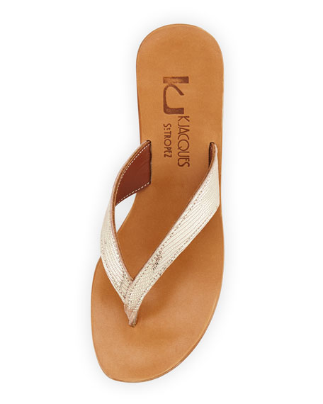 Diorite Metallic Thong Sandal, Platinum Gold