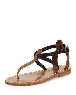 Buffon Two-Tone Thong Sandal, Natural/Navy