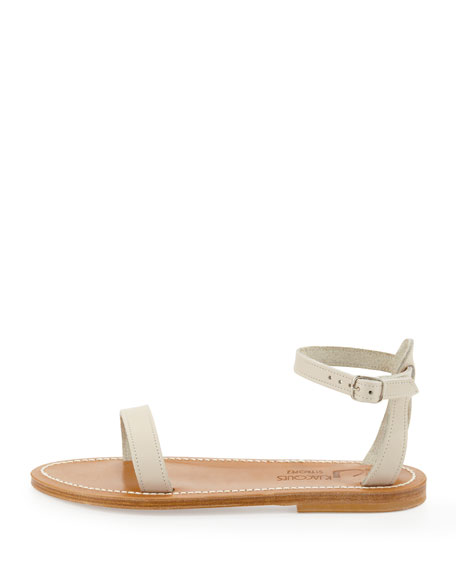 Laura Leather Sandal, Off White