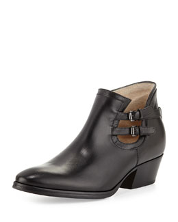 Aquatalia Frankie Buckle-Strap Ankle Boot, Black
