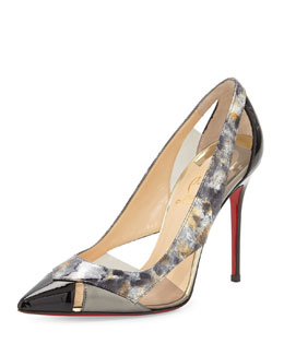Christian Louboutin Galata Cutout Patent Red Sole Pump, Black