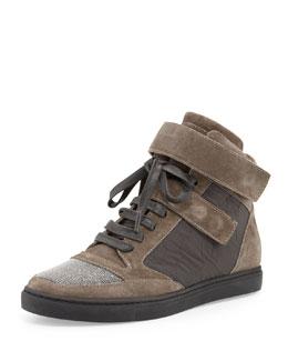Grip-Strap Suede Hi-Top Sneaker, Grayish Brown