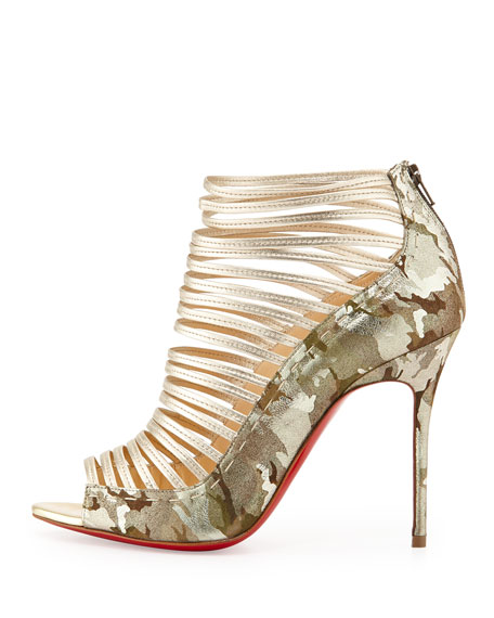 Gortika Camo & Metallic Red Sole Bootie, Gold/Platine