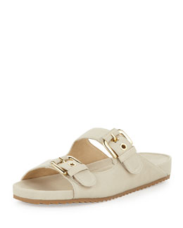 Stuart Weitzman Freely Buckled Leather Sandal, Vanilla