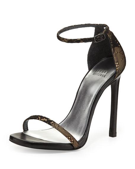 Nudist Lace Ankle-Strap Sandal, Black