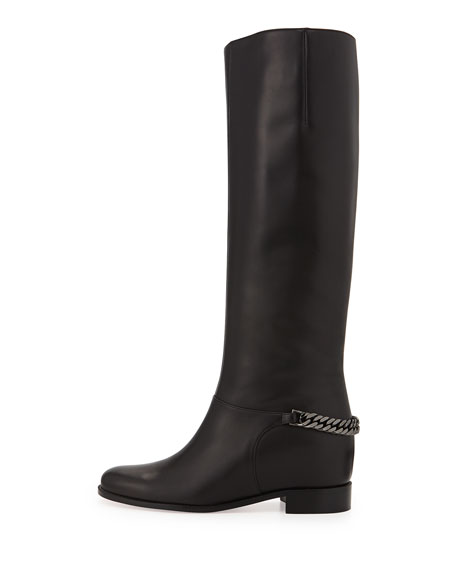 Cate Chain-Trim Red Sole Knee Boot