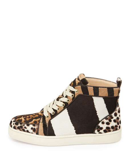 Rantus Print Calf-Hair High-Top Sneaker, Tmoro