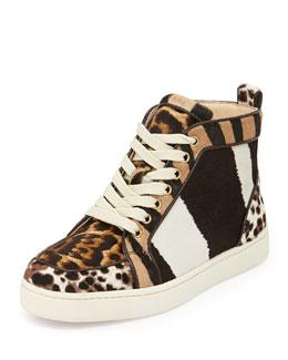 Christian Louboutin Rantus Print Calf-Hair High-Top Sneaker, Tmoro