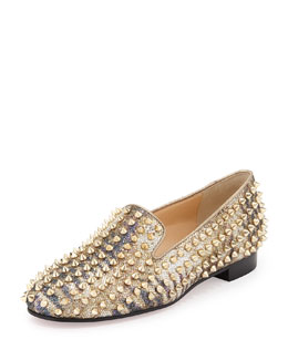 Christian Louboutin Rolling Spikes Glitter Loafer, Light Gold