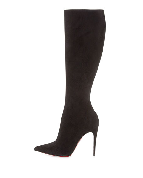 Christian Louboutin Tournoi Suede Pointed-Toe Knee Boot