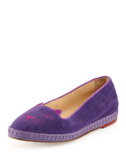 Charlotte Olympia Capri Cats Velvet Slipper, Purple