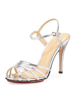 Charlotte Olympia Gilda Metallic Double-Buckle Strappy Sandal